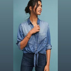 Anthropologie Cloth & Stone Tied Chambray Top M
